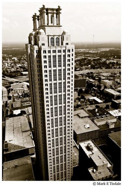 Black and White Aerial Picture of the Skyscraper at 191 Peachtree Street in Atlanta