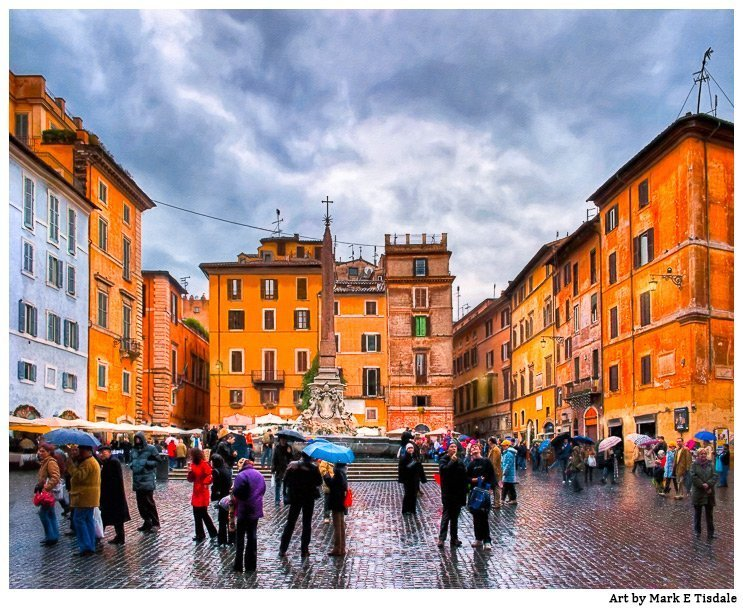 Stormy Skies Over A Roman Piazza artwork by Mark Tisdale