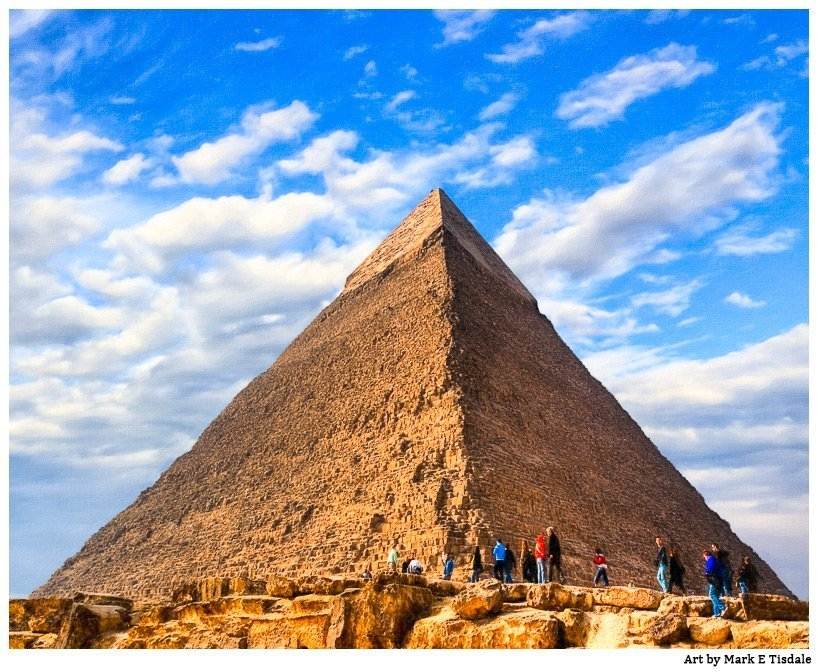 Pharaoh Khafre's pyramid  - textured painteryly photo artwork