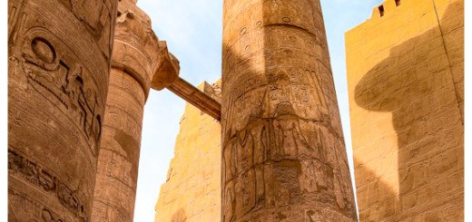 Picture of one of the massive Columns in the ruins of Karnak Temple near Luxor