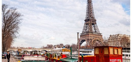 Eiffel Tower Print - Picture Viewed from the Seine Overlooking Boats