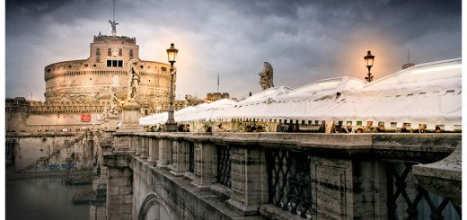 Winter Night art print of Rome's Castel Sant'Angelo