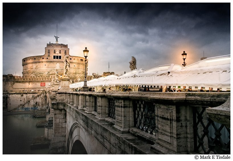 Winter Night art print of Rome's Castel Sant'Angelo