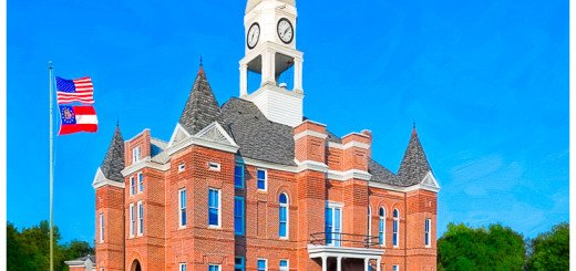 Macon County Courthouse - Georgia - artwork by Mark E Tisdale