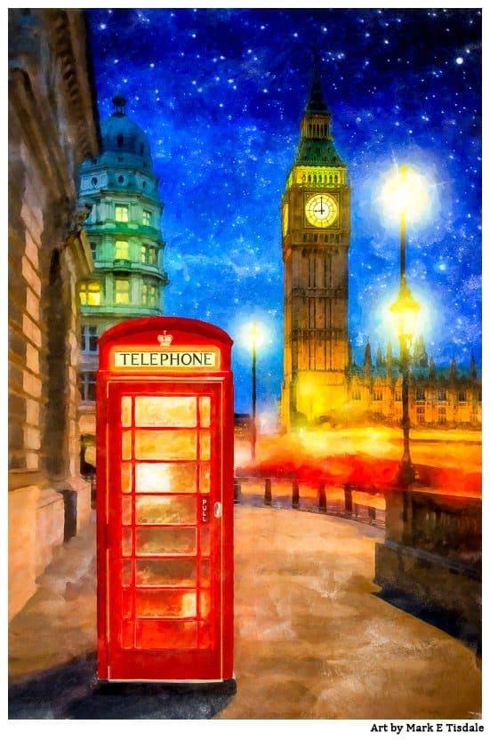 "London Red Phone Booth Wall Clock London Calling Britain London UK Big Ben 10/"""