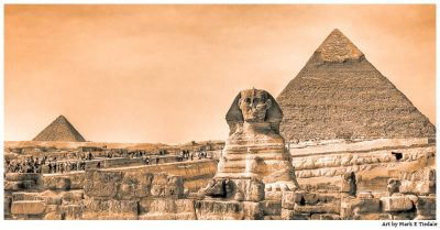 Art print of the Mysterious Sphinx on the Giza Plateau In Front of the Pyramids - Vintage Panorama