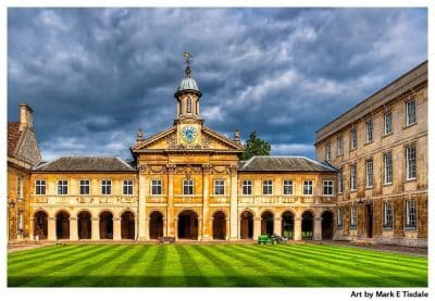 Art print of the Christopher Wren Chapel at Emmanuel College - Cambridge England