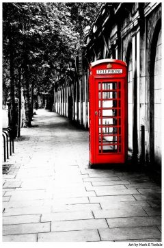Iconic British Art Print Featuring a Beautiful Red Telephone Booth