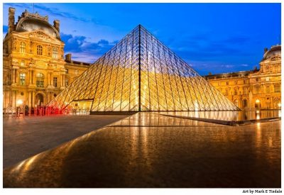 Art Print of The Louvre Pyramid At Night