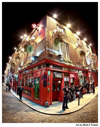 Art Print of Dublin's Famous Temple Bar - Ireland at Night