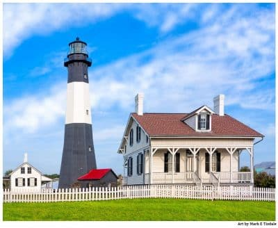 Landscape Art Print of Morning at the Lighthouse On Tybee Island