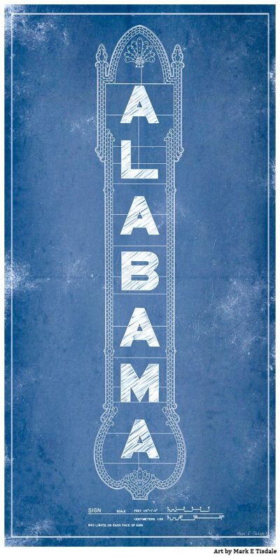 Art Print of the Alabama Theatre Marquee Blueprints