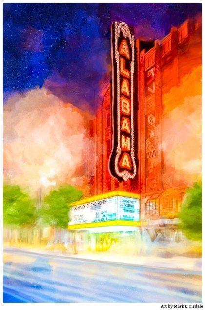 Alabama Theatre At Night - Historic Birmingham Art