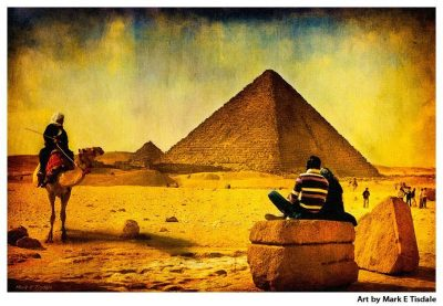 Art print of the Ancient Pyramids of Egypt - Giza Plateau