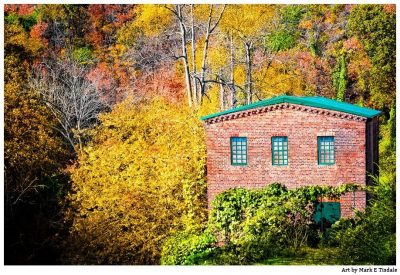 Art print of a fall landscape at the Historic Roswell Mill - Georgia