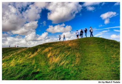 Art print of Avebury Circle - the great earthen bank that surrounds the Neolithic monument
