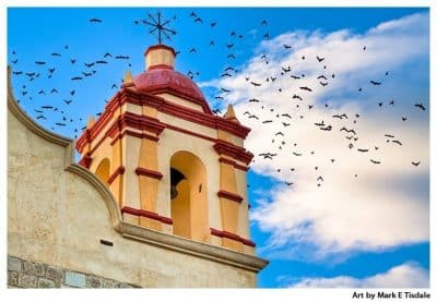 Art Print of a birds in flight behind a beautiful bell tower on a church in Oaxaca Mexico