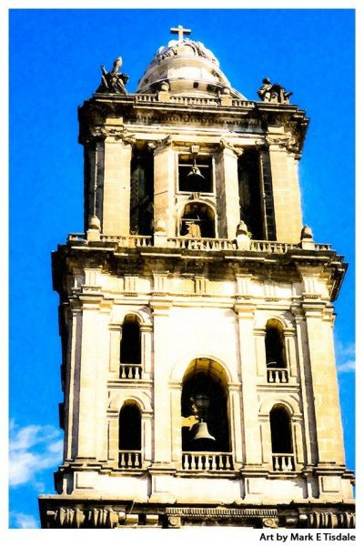 Art Print of The Cathedral Bell Tower in Mexico City