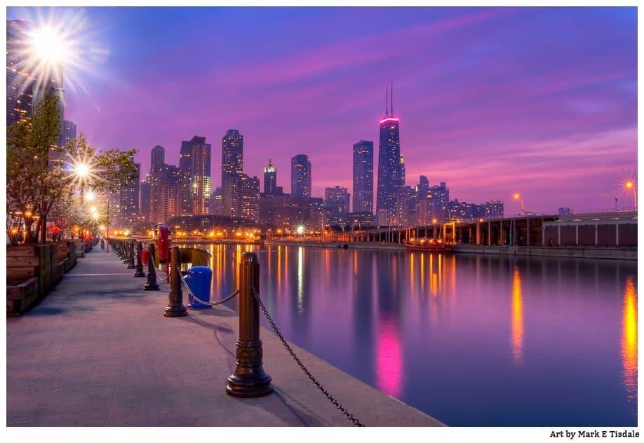 Beautiful Chicago Skyline At Dusk City Lights Art Print