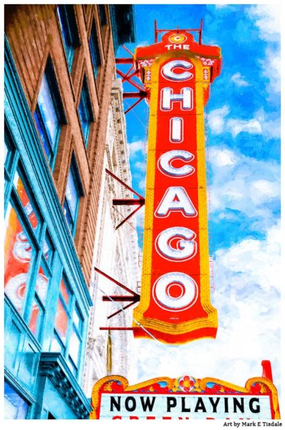 Art Print of The Classic Chicago Theatre Sign