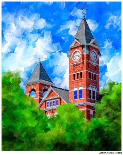 Classic Auburn University Samford Hall Print by artist Mark Tisdale