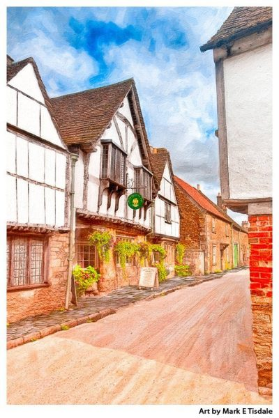 Art print of a classic English Village - Lacock Wiltshire - The Cotswolds