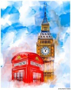 Classic London Art Print - Big Ben & A British Telephone Booth