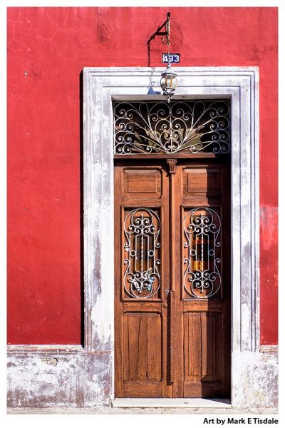 Art Print of A Classic Old Wooden Door in Merida Mexico