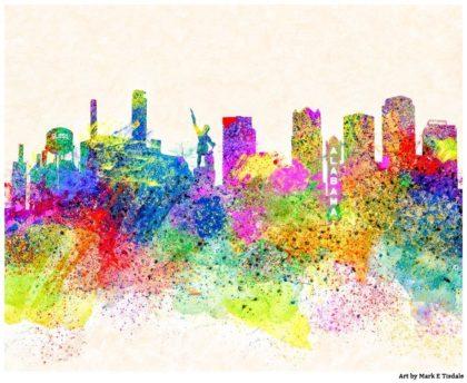 Colorful Birmingham Skyline - Alabama Art Print by Mark Tisdale