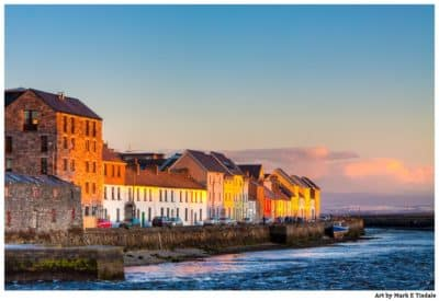 Colorful Galway Art Print - Colorful House On Waterfront at Sunset