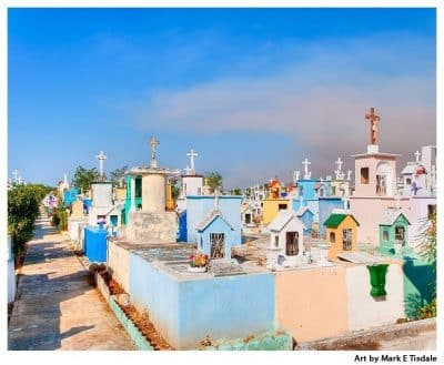 Art print of a Colorful Mexican Cemetery in the Yucatan