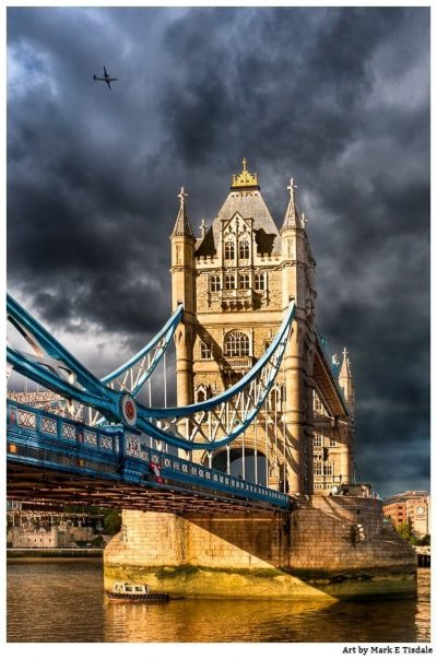 Art Print of London's Tower Bridge With Dramatic Light And Skies