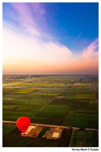 Egypt Aerial View of Farm Fields and Hot Air Balloon - Print by Mark Tisdale