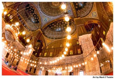 Art Print of an Egyptian Mosque Ceiling - Mosque of Muhammad Ali in Cairo