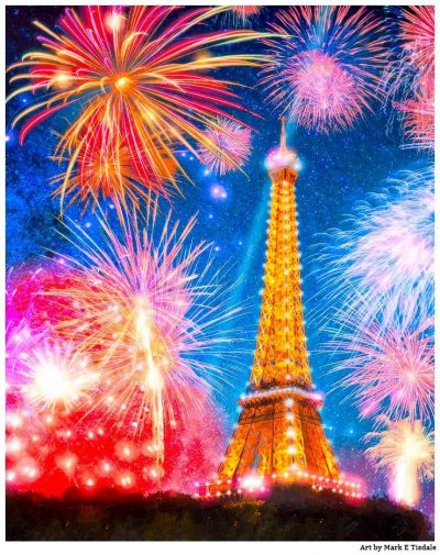 Art Print Of The Eiffel Tower At Night With Fireworks