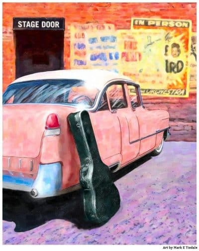 Elvis Inspired 1950s Pink Cadillac Artwork