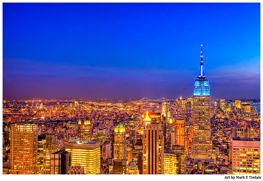 New York City Photograph Manhattan Skyline Silhouette Urban Landscape Photography Empire State Building Art Print Sepia Gold