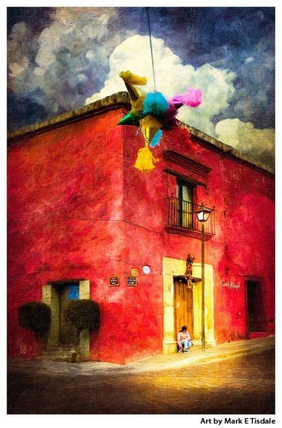 Art Print of the Festive Mexico Streets of Oaxaca
