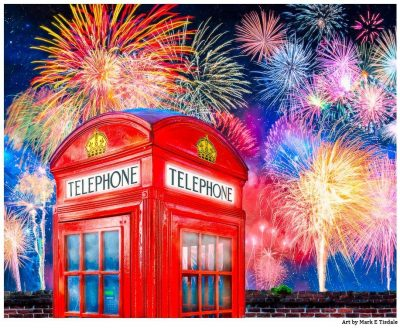 Art Print of a British Telephone Box With Fireworks Overhead