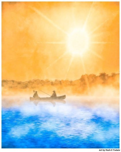 Fishing Boat Art - Gold and Blue Sunrise Print by Mark Tisdale