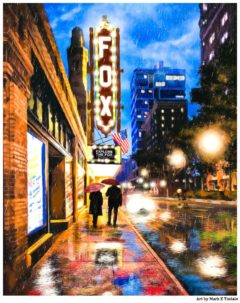 Fox Theatre - Rainy Atlanta Artwork by Mark Tisdale