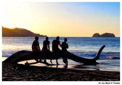 Driftwood On The Beach - Friends Relaxing at sunset - Print by Mark Tisdale