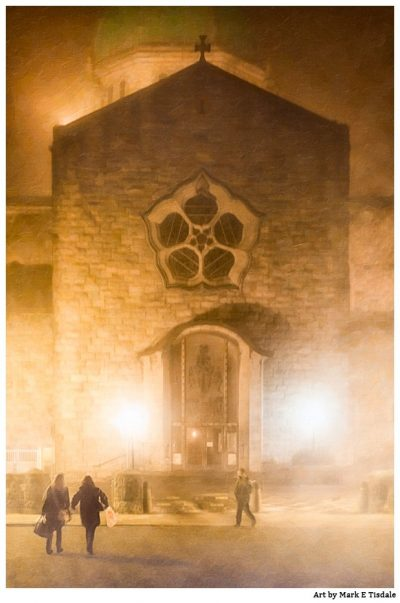 Art Print of Galway Cathedral at night in a dense fog - Ireland