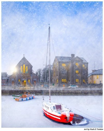 Art Print of Snow Falling On Claddagh Quay - Galway