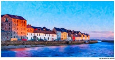 Art print of a Galway Panorama - The Long Walk on Galway Bay in Ireland