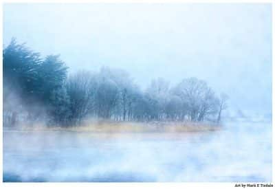 Art Print of a foggy landscape on the River Corrib in Galway Ireland