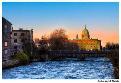 Art print of a golden sunset on the Galway Skyline over the River Corrib