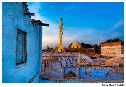 Golden Minaret Against a Blue Sky on Elephantine Island near Aswan Egypt - Print by Mark Tisdale