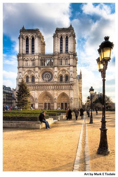 Art Print of Gothic Notre Dame Cathedral - Paris Landmark