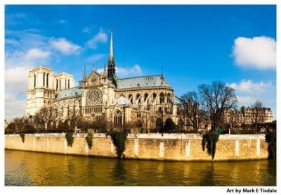 Art print of Historic Notre Dame de Paris - French Gothic Cathedral